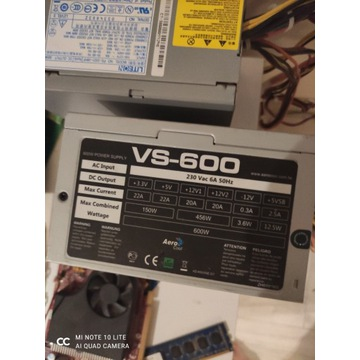 Aerocool PGS VS-600 85+ 600W Bulk zasilacz pc