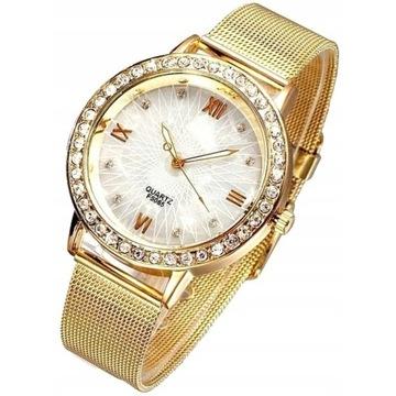 Efektowny zegarek damski z cyrkoniami Licytacja