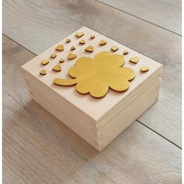 Pudełko drewniane szczęścia Prezent Komunia
