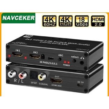 HDMI Audio Extractor 4K 60Hz przełącznik HDMI