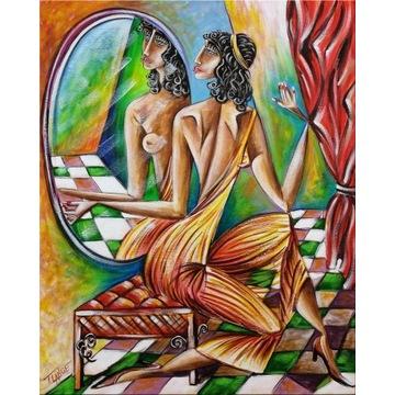 KOBIECY CHILLOUCIK - Obraz Modern Art Kubizm 50/40