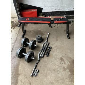 Zestaw: żeliwne ciężary 55kg + ławeczka + gryfy