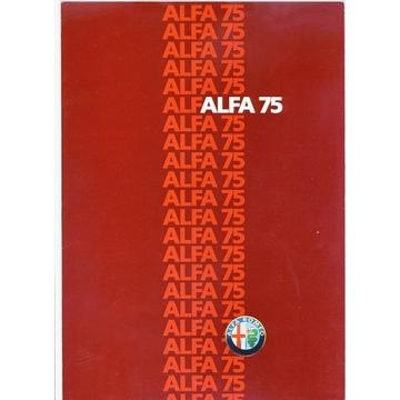 Prospekt Alfa Romeo 75 z około 1986r.