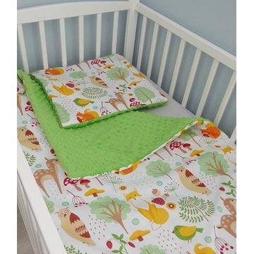 Pościel do łóżeczka  80cm x 120cm bawełna i minky