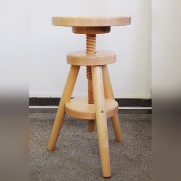 TABORET krzesło stołek regulowany obrotowy BUKOWY