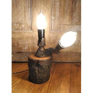 Lampka nocna upcyclingowa loft retro ozdobna