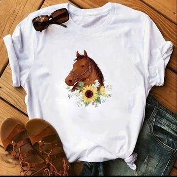 Koszulka t-shirt lato konie koń S-XXL czarna biała