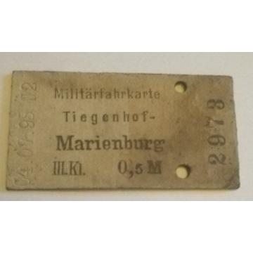 Wojskowy bilet kolejowy Tiegenhof - Marienburg