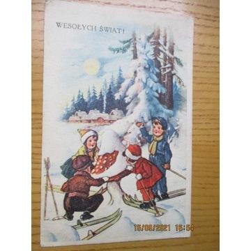 pocztówka WESOŁYCH ŚWIĄT 1949