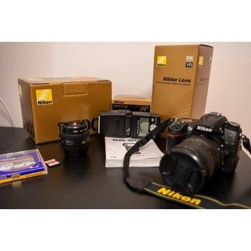 Nikon D7000 + obiektywy + lampa - stan idealny