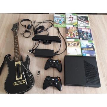 ZESTAW XBOX 360 E SLIM 250gb+PAD+Gitara+GRY+KINECT