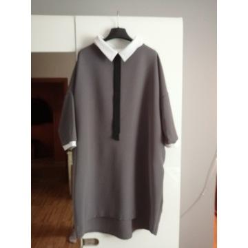 Sukienka Taffi kołnierz krawat roz 3 50 52 54 56