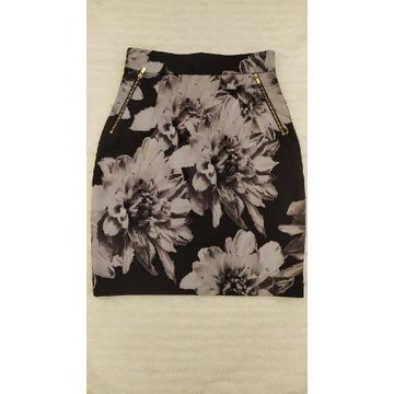 H&M śliczna ołówkowa spódniczka ZIP kwiaty 34