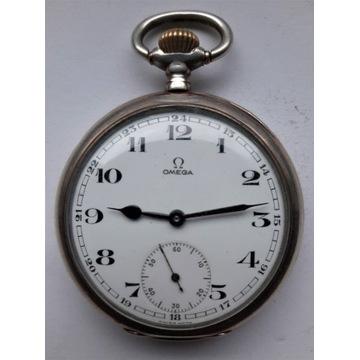 Srebrny kieszonkowy zegarek m. OMEGA z 1910r.