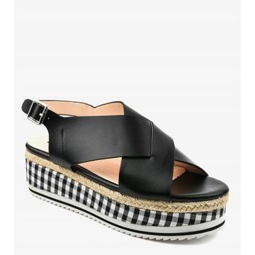 Czarne sandały na platformie rozm. 38
