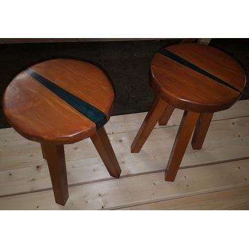 Taboret / stoliczek / stołek drewno + żywica epoks