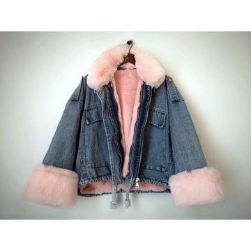 Jeansowa kurtka z futerkiem, jesień, zima, niebies
