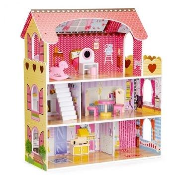 Drewniany domek dla lalek z oświetleniem LED + zes