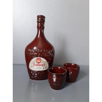 Ceramiczna butelka Jadwiga + 2 kieliszki