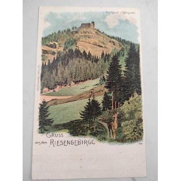 Pocztówka Riesengebirge -Karkonosze zamek  .