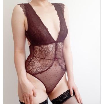 Bordowe, koronkowe body fetysz noszone używane