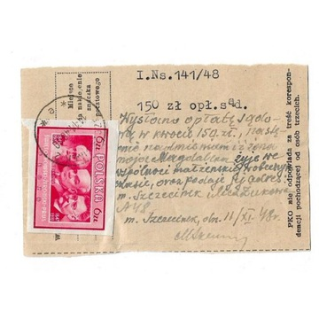 Wpłata opłaty sądowej z 11.11.1948r