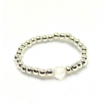Pierścionek elastyczny srebrny kryształ górski