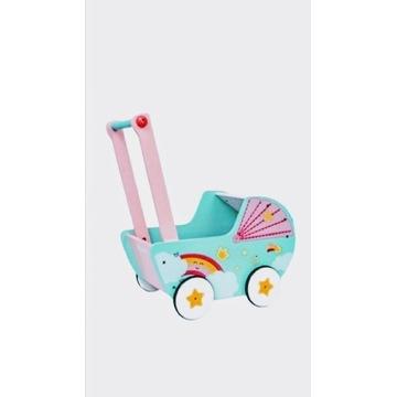 Drewniany wózek dla lalek, pchacz, chodzik