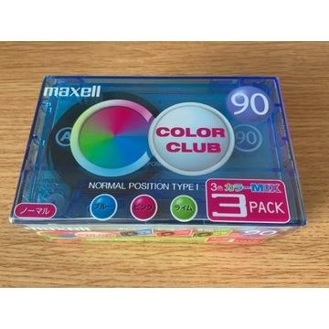 Kasety Maxell ColorClub 3 x 90 - NOS, folii, JAPAN