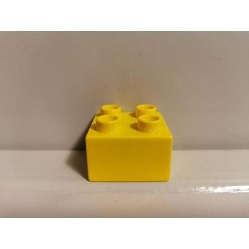 LEGO DUPLO oryginalny klocek żółty 2x2 WARSZAWA