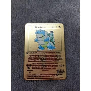 Metalowa złota karta pokemon Blastoise