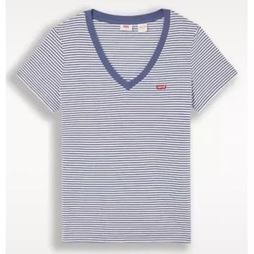 LEVI'S T-Shirt  V Neck  Niebieski Regular Fit