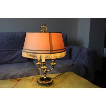 Unikalna przedwojenna, lampa z mosiądzu, lwie łapy