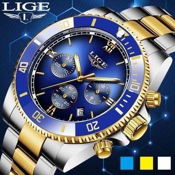 LIGE Top marka luksusowy zegarek sportowy męski