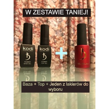 Zestaw! Baza, Top 8ml + Lakier hybrydowy Kodi 7ml