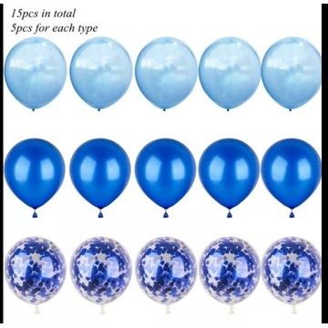 Zestaw balonów 15 szt - niebieski balon