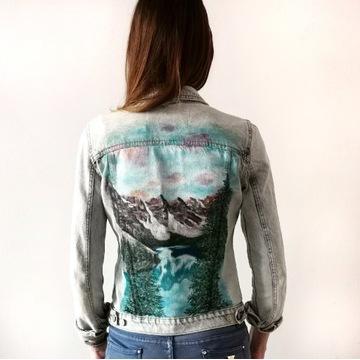 Kurtka jeansowa ręcznie malowana