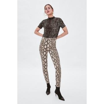 ZARA spodnie rurki snake print *S