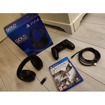 OKAZJA Słuchawki Sony Gold + Pad Dualshock 4 + Gra