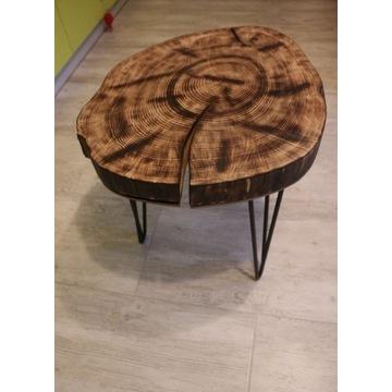 Stolik kawowy plaster drewna
