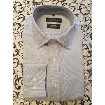 Niebieska koszula męska 100% bawełny.