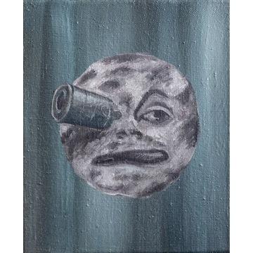 Obraz olejny podróż na księżyc licytacja