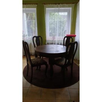 Stół rozkładany z krzesłami antyk