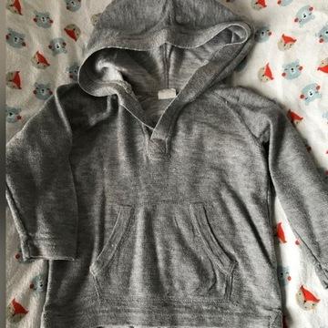 Szara bluza sweter z kapturem H&M 80