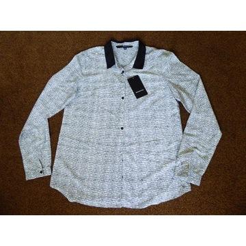 koszula Reserved długi rekaw biała w czarne kropki