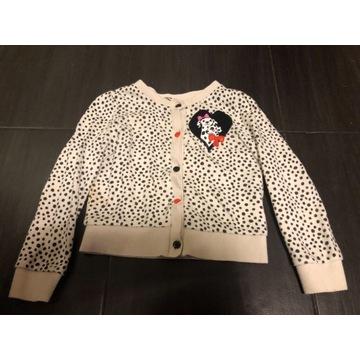 Sweterek dziewczęcy dalmatyńczyki 98/104 H&M