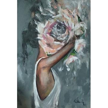 Obraz olej akryl 50x70 pocałunek Klemba