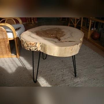 Stolik kawowy z plastra drzewa kasztanowca