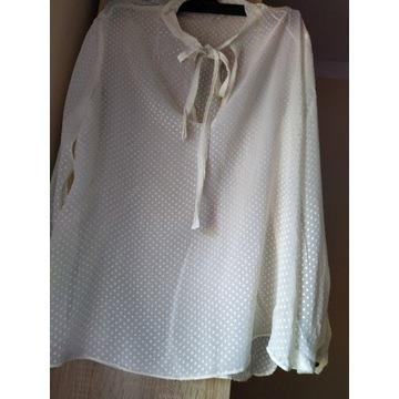 Mango kremowa jedwabna bluzka koszula  XL