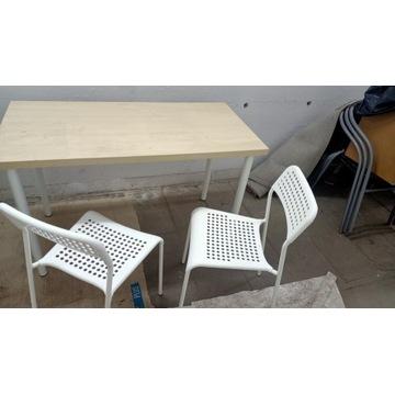Krzesła białe Ikea, stół Ikea biały